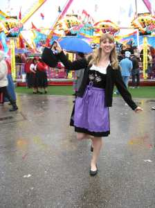 Dirndl in the rain