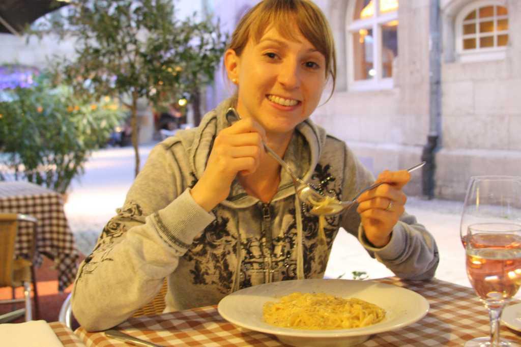 Enjoying pasta