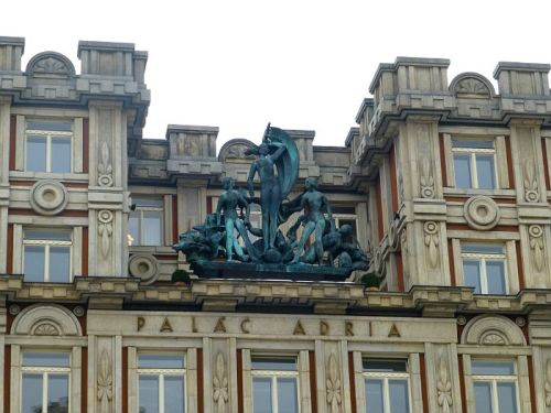 Statues on a building in Prague