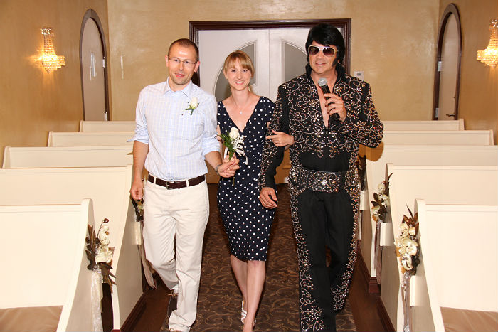 Moritz, Elvis and me at Graceland Wedding Chapel