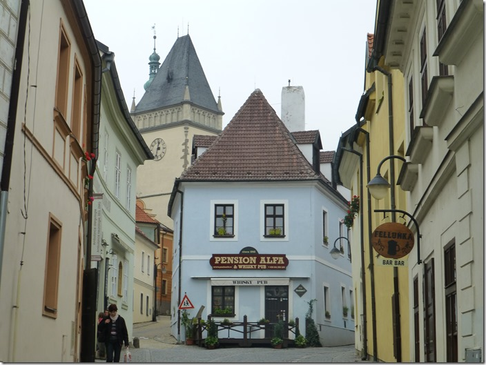 Winding streets in Tábor in the Czech Republic