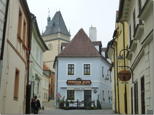 Winding streets in Tábor in the Czech Republic